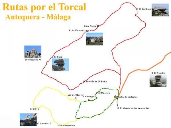 Rutas Verde, Amarilla y Roja por el Torcal de Antequera en Málaga, Andalucía.
